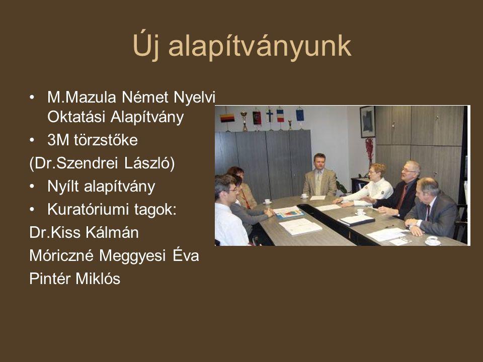 Új alapítványunk •M.Mazula Német Nyelvi Oktatási Alapítvány •3M törzstőke (Dr.Szendrei László) •Nyílt alapítvány •Kuratóriumi tagok: Dr.Kiss Kálmán Mó