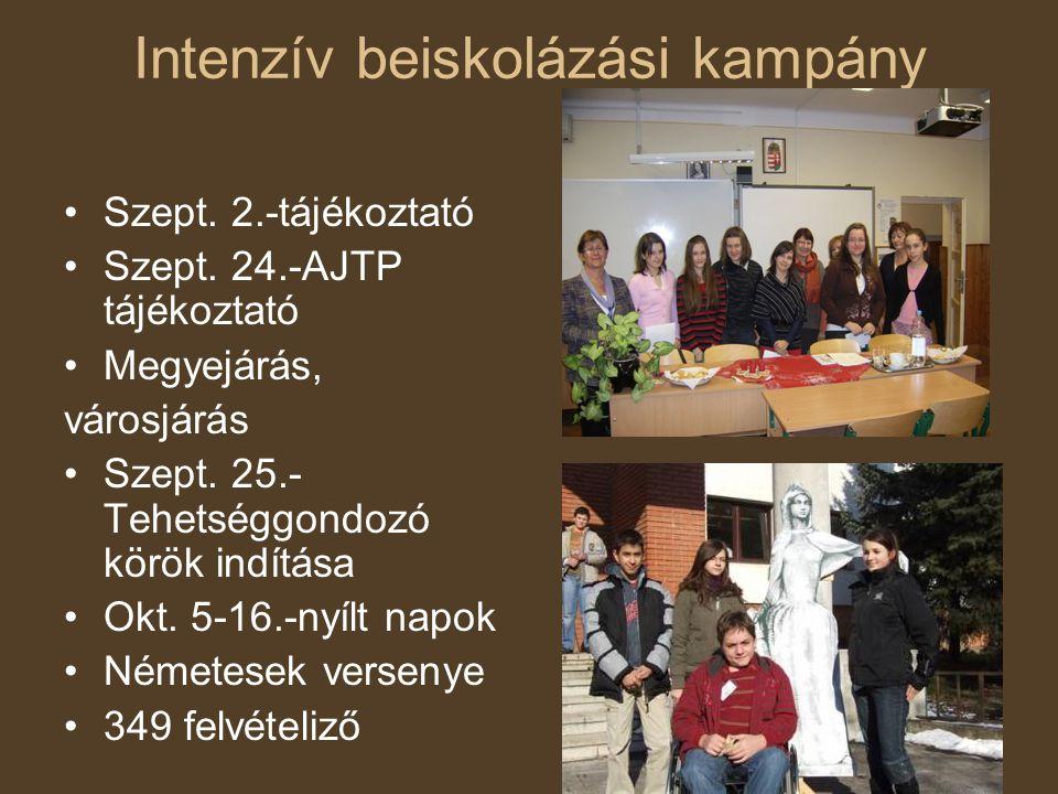 Intenzív beiskolázási kampány •Szept. 2.-tájékoztató •Szept. 24.-AJTP tájékoztató •Megyejárás, városjárás •Szept. 25.- Tehetséggondozó körök indítása