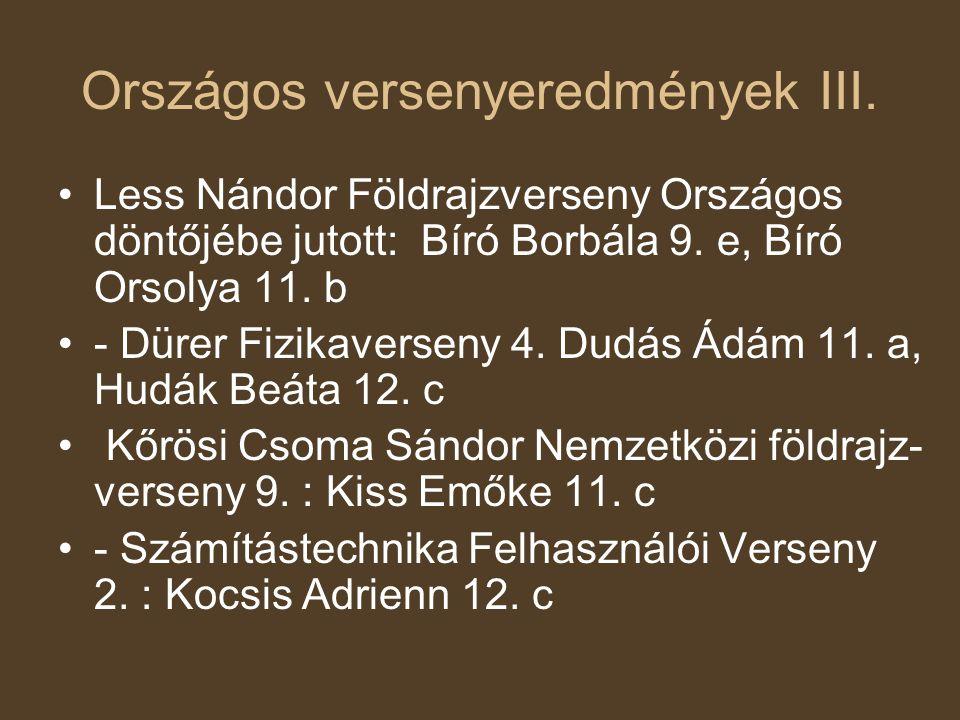 Országos versenyeredmények III. •Less Nándor Földrajzverseny Országos döntőjébe jutott: Bíró Borbála 9. e, Bíró Orsolya 11. b •- Dürer Fizikaverseny 4
