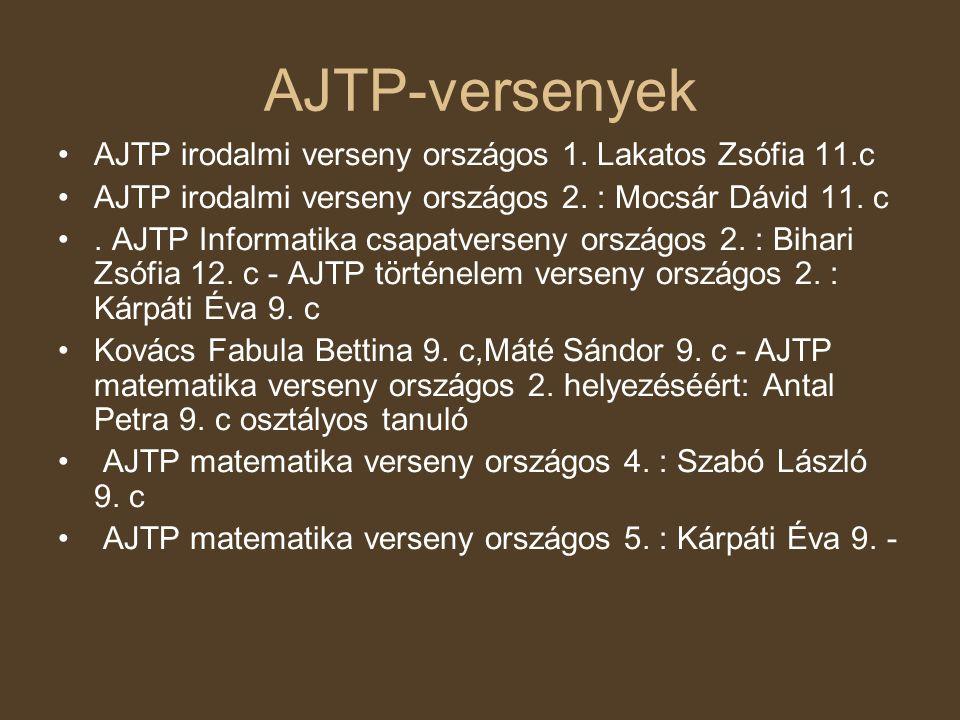 AJTP-versenyek •AJTP irodalmi verseny országos 1. Lakatos Zsófia 11.c •AJTP irodalmi verseny országos 2. : Mocsár Dávid 11. c •. AJTP Informatika csap