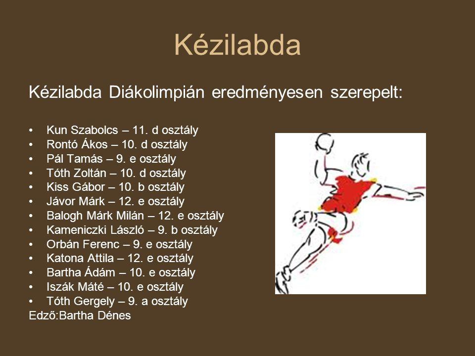 Kézilabda Kézilabda Diákolimpián eredményesen szerepelt: •Kun Szabolcs – 11. d osztály •Rontó Ákos – 10. d osztály •Pál Tamás – 9. e osztály •Tóth Zol