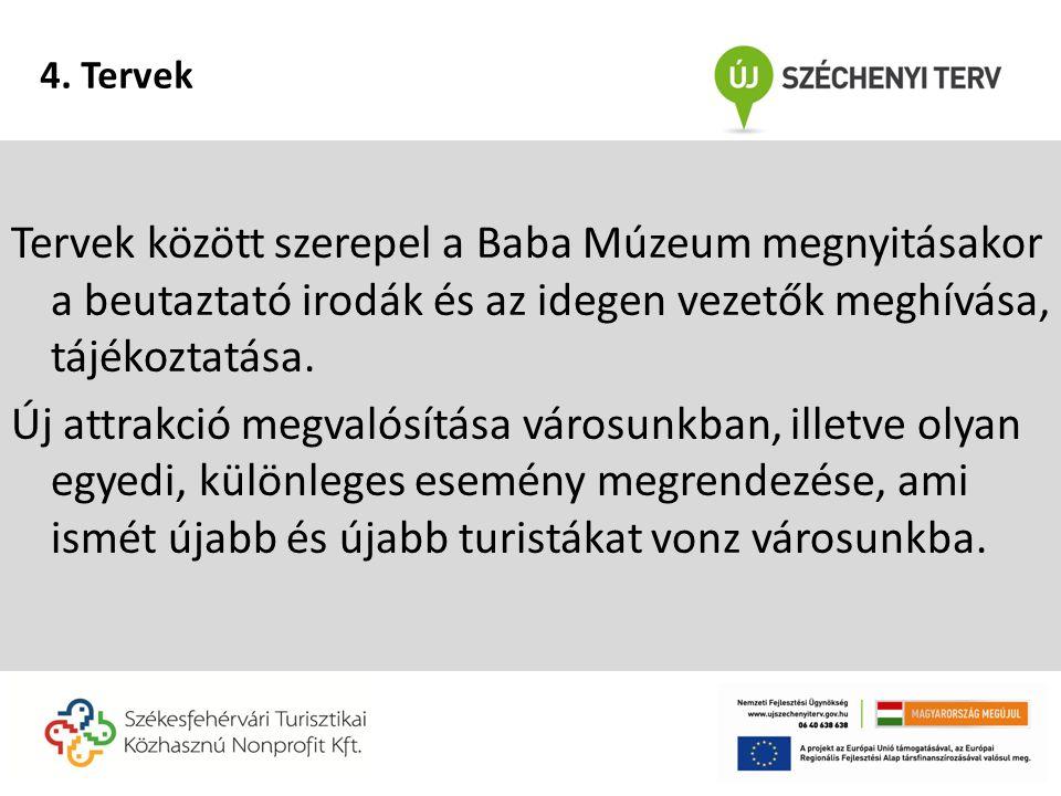 Tervek között szerepel a Baba Múzeum megnyitásakor a beutaztató irodák és az idegen vezetők meghívása, tájékoztatása.