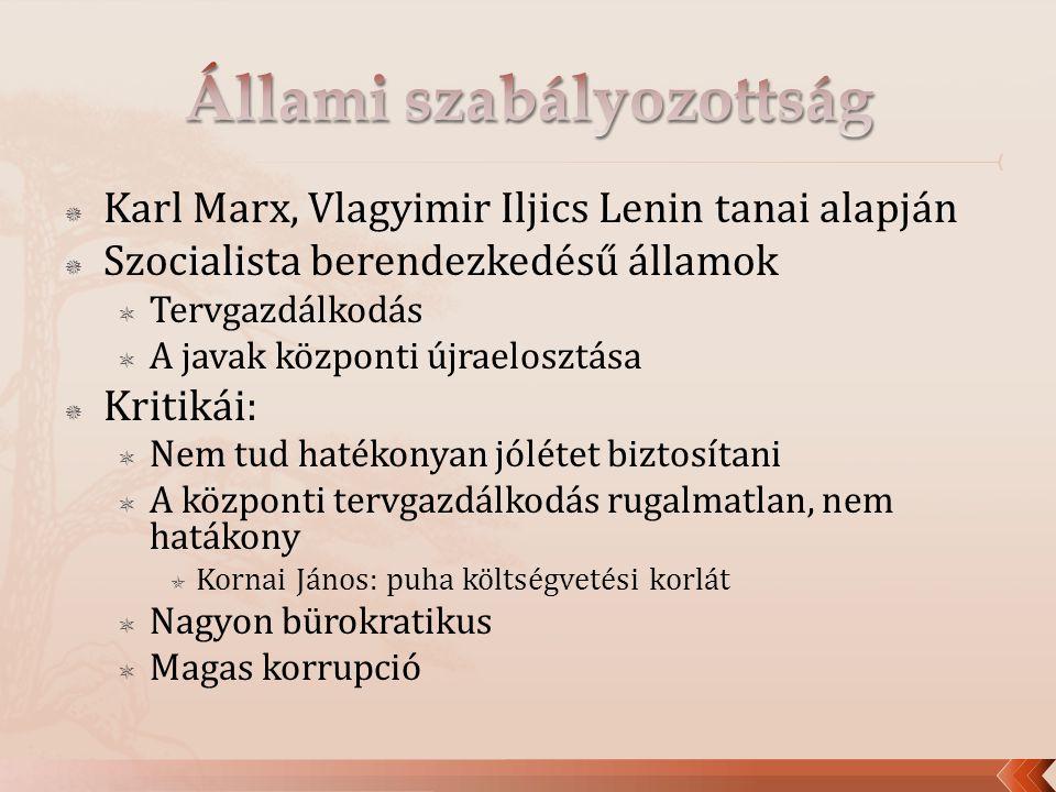  Karl Marx, Vlagyimir Iljics Lenin tanai alapján  Szocialista berendezkedésű államok  Tervgazdálkodás  A javak központi újraelosztása  Kritikái:  Nem tud hatékonyan jólétet biztosítani  A központi tervgazdálkodás rugalmatlan, nem hatákony  Kornai János: puha költségvetési korlát  Nagyon bürokratikus  Magas korrupció