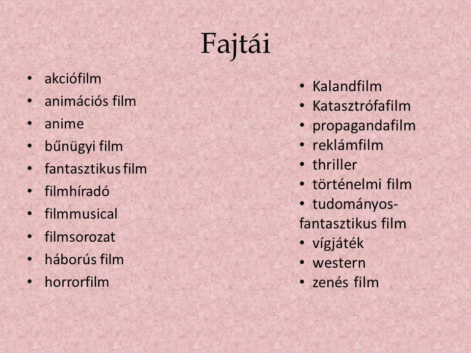 Fajtái • akciófilm • animációs film • anime • bűnügyi film • fantasztikus film • filmhíradó • filmmusical • filmsorozat • háborús film • horrorfilm •