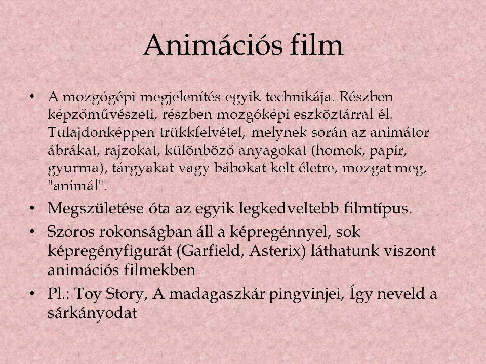 Animációs film • A mozgógépi megjelenítés egyik technikája. Részben képzőművészeti, részben mozgóképi eszköztárral él. Tulajdonképpen trükkfelvétel, m