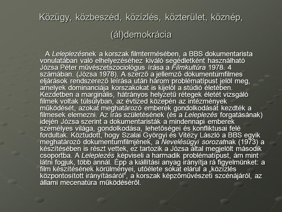 Közügy, közbeszéd, közízlés, közterület, köznép, (ál)demokrácia A Leleplezésnek a korszak filmtermésében, a BBS dokumentarista vonulatában való elhely