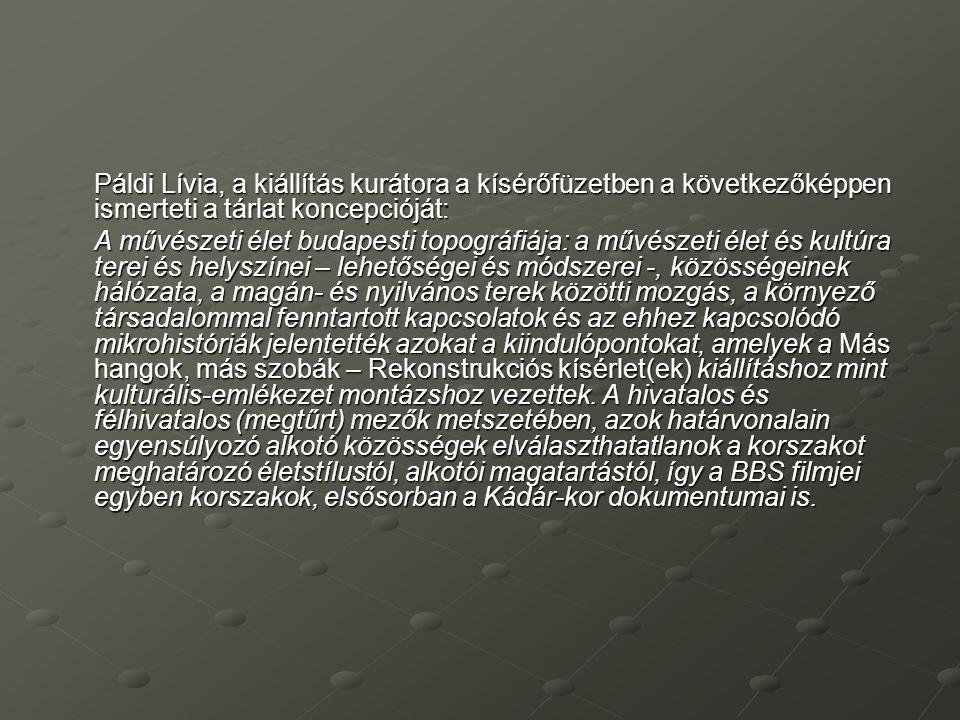 Páldi Lívia, a kiállítás kurátora a kísérőfüzetben a következőképpen ismerteti a tárlat koncepcióját: A művészeti élet budapesti topográfiája: a művés