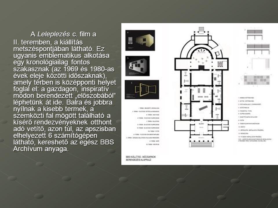 A Leleplezés c. film a II. teremben, a kiállítás metszéspontjában látható. Ez ugyanis emblematikus alkotása egy kronológiailag fontos szakasznak (az 1