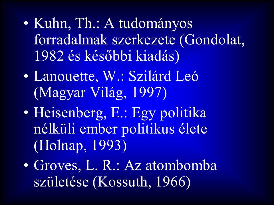 •Kuhn, Th.: A tudományos forradalmak szerkezete (Gondolat, 1982 és későbbi kiadás) •Lanouette, W.: Szilárd Leó (Magyar Világ, 1997) •Heisenberg, E.: E