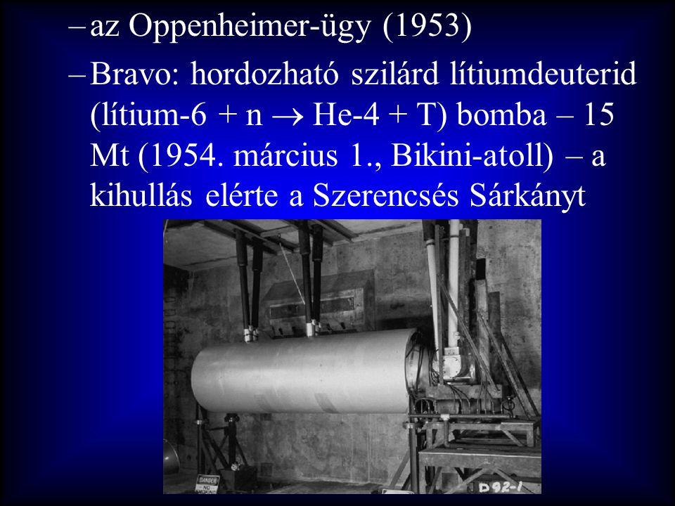 –az Oppenheimer-ügy (1953) –Bravo: hordozható szilárd lítiumdeuterid (lítium-6 + n  He-4 + T) bomba – 15 Mt (1954. március 1., Bikini-atoll) – a kihu