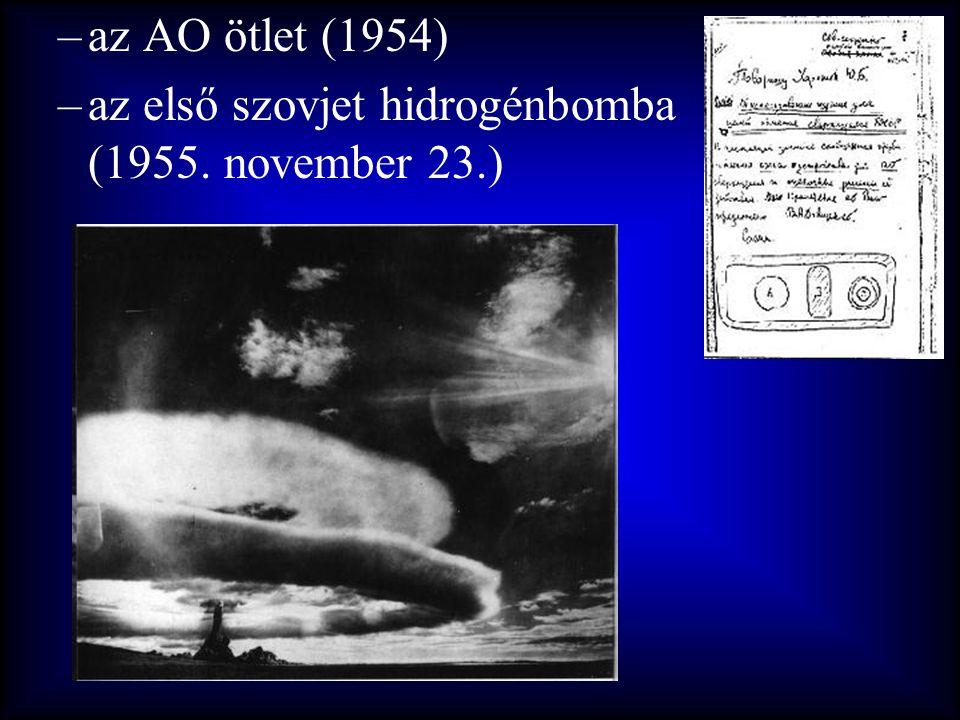 –az AO ötlet (1954) –az első szovjet hidrogénbomba (1955. november 23.)