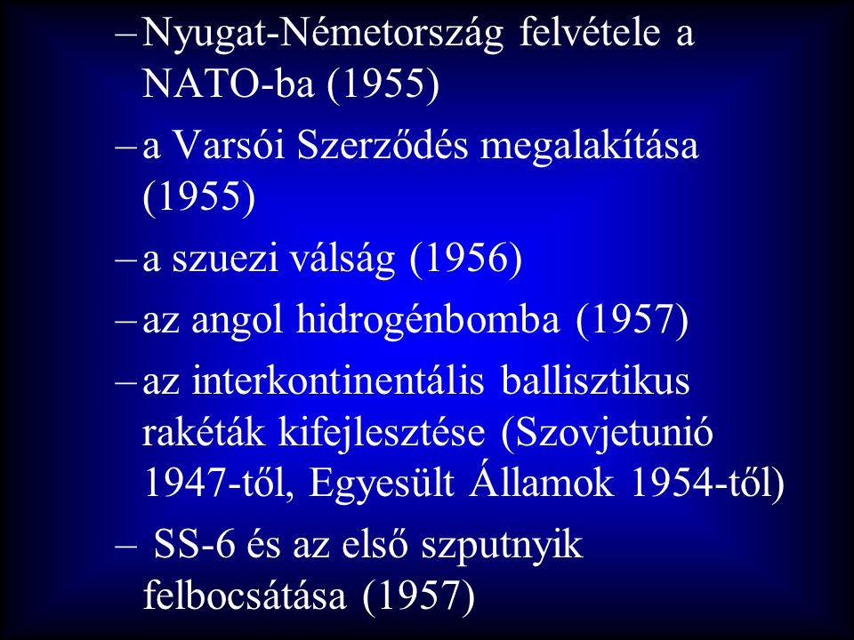 –Nyugat-Németország felvétele a NATO-ba (1955) –a Varsói Szerződés megalakítása (1955) –a szuezi válság (1956) –az angol hidrogénbomba (1957) –az inte