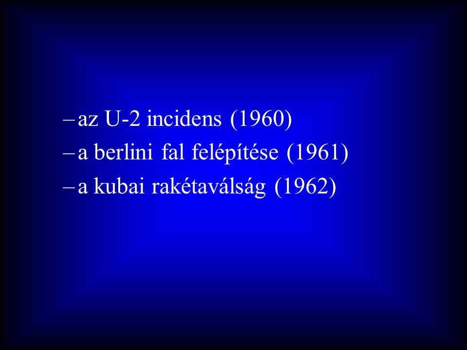 –az U-2 incidens (1960) –a berlini fal felépítése (1961) –a kubai rakétaválság (1962)