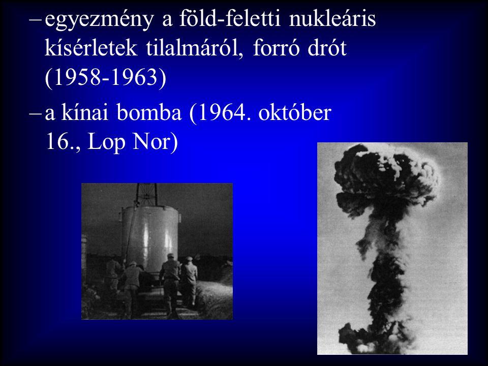 –egyezmény a föld-feletti nukleáris kísérletek tilalmáról, forró drót (1958-1963) –a kínai bomba (1964. október 16., Lop Nor)