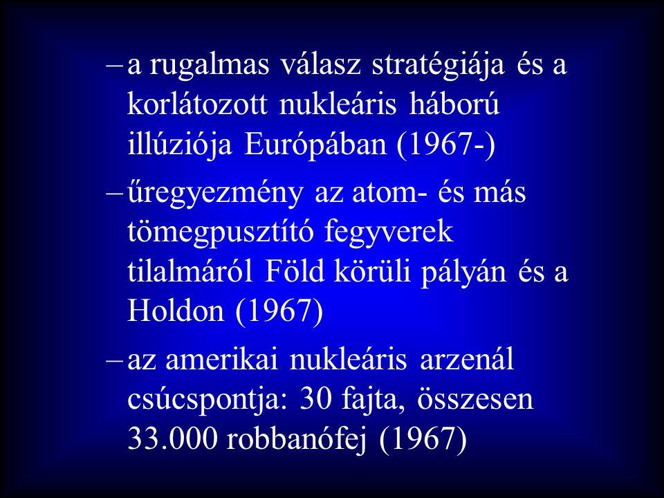 –a rugalmas válasz stratégiája és a korlátozott nukleáris háború illúziója Európában (1967-) –űregyezmény az atom- és más tömegpusztító fegyverek tila