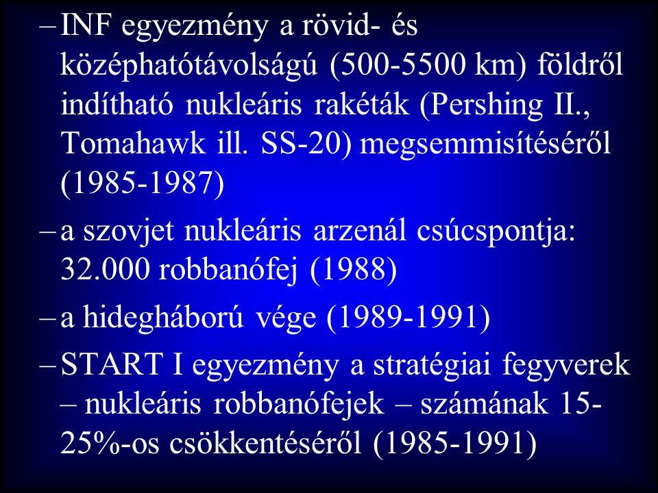 –INF egyezmény a rövid- és középhatótávolságú (500-5500 km) földről indítható nukleáris rakéták (Pershing II., Tomahawk ill. SS-20) megsemmisítéséről