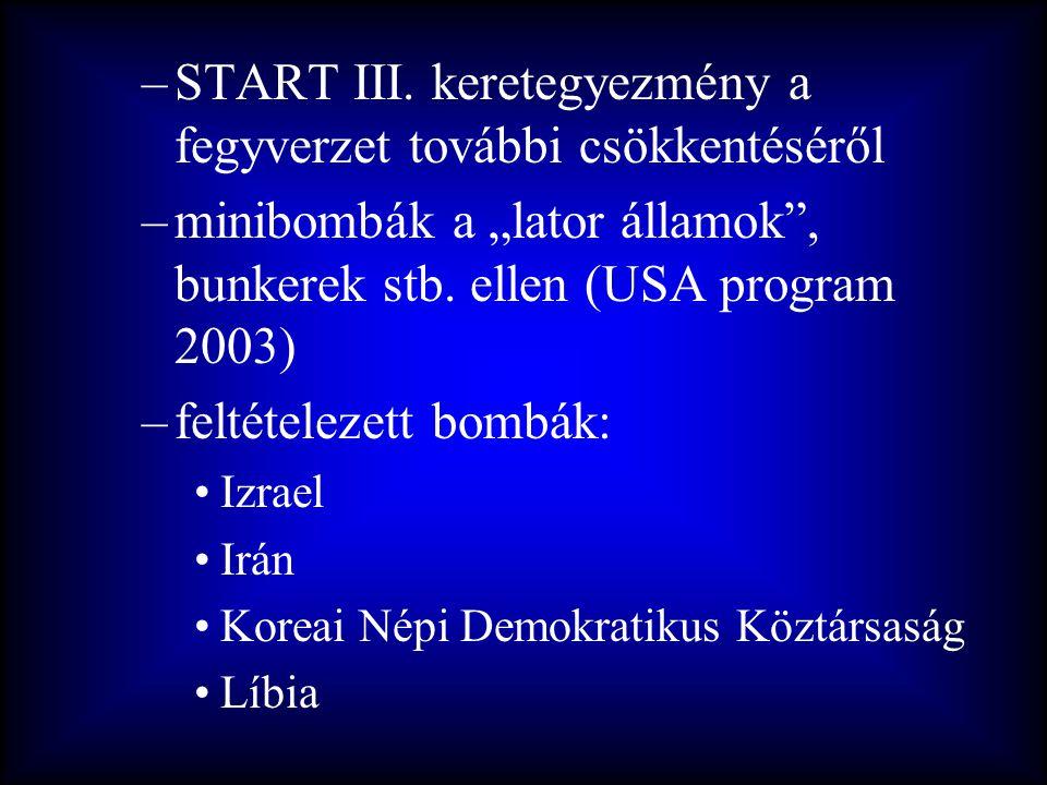 """–START III. keretegyezmény a fegyverzet további csökkentéséről –minibombák a """"lator államok"""", bunkerek stb. ellen (USA program 2003) –feltételezett bo"""