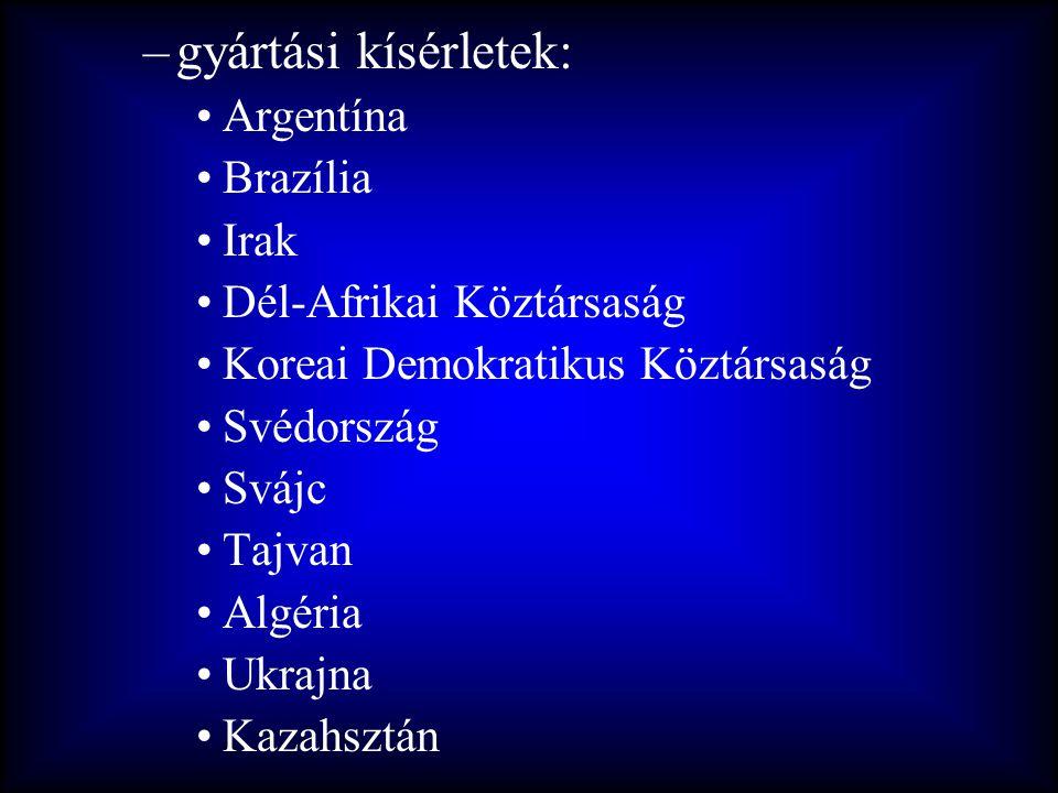 –gyártási kísérletek: •Argentína •Brazília •Irak •Dél-Afrikai Köztársaság •Koreai Demokratikus Köztársaság •Svédország •Svájc •Tajvan •Algéria •Ukrajn