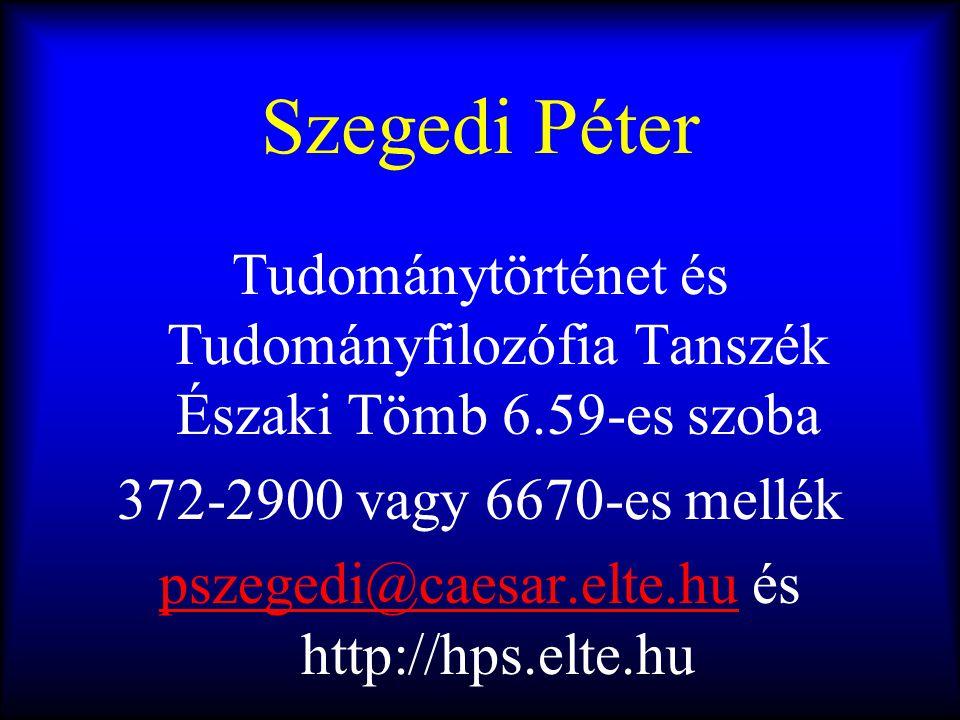 Szegedi Péter Tudománytörténet és Tudományfilozófia Tanszék Északi Tömb 6.59-es szoba 372-2900 vagy 6670-es mellék pszegedi@caesar.elte.hupszegedi@cae