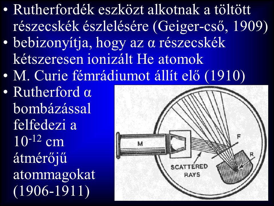 •Rutherfordék eszközt alkotnak a töltött részecskék észlelésére (Geiger-cső, 1909) •bebizonyítja, hogy az α részecskék kétszeresen ionizált He atomok