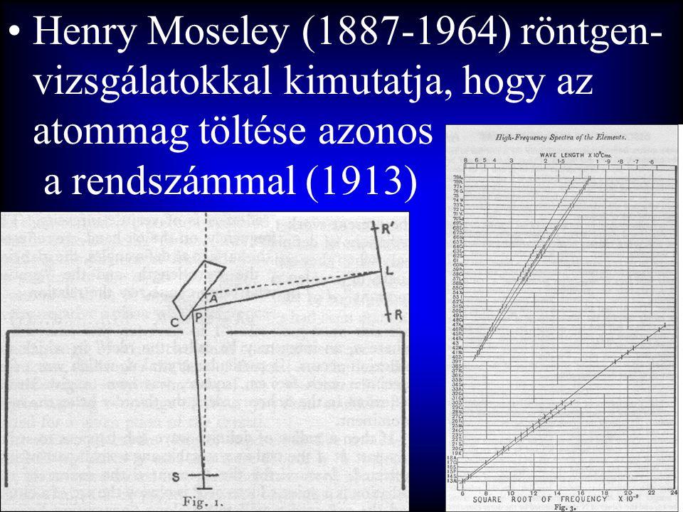•Henry Moseley (1887-1964) röntgen- vizsgálatokkal kimutatja, hogy az atommag töltése azonos a rendszámmal (1913)