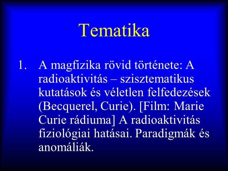 Tematika 1.A magfizika rövid története: A radioaktivitás – szisztematikus kutatások és véletlen felfedezések (Becquerel, Curie). [Film: Marie Curie rá