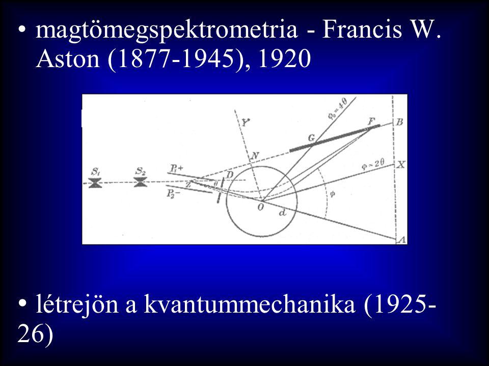 •magtömegspektrometria - Francis W. Aston (1877-1945), 1920 • létrejön a kvantummechanika (1925- 26)