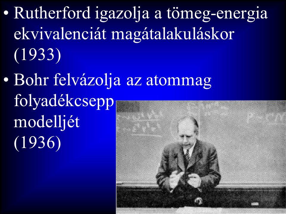 •Rutherford igazolja a tömeg-energia ekvivalenciát magátalakuláskor (1933) •Bohr felvázolja az atommag folyadékcsepp modelljét (1936)