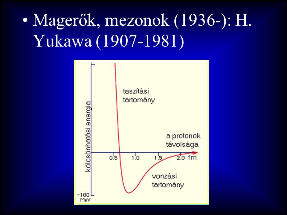 •Magerők, mezonok (1936-): H. Yukawa (1907-1981)