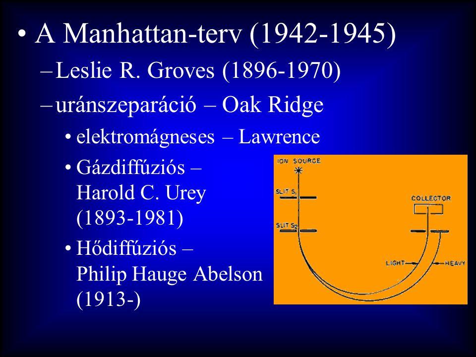 •A Manhattan-terv (1942-1945) –Leslie R. Groves (1896-1970) –uránszeparáció – Oak Ridge •elektromágneses – Lawrence •Gázdiffúziós – Harold C. Urey (18