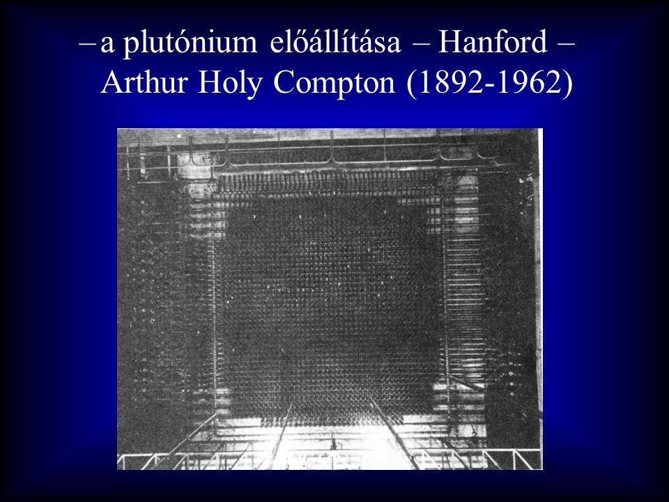 –a plutónium előállítása – Hanford – Arthur Holy Compton (1892-1962)