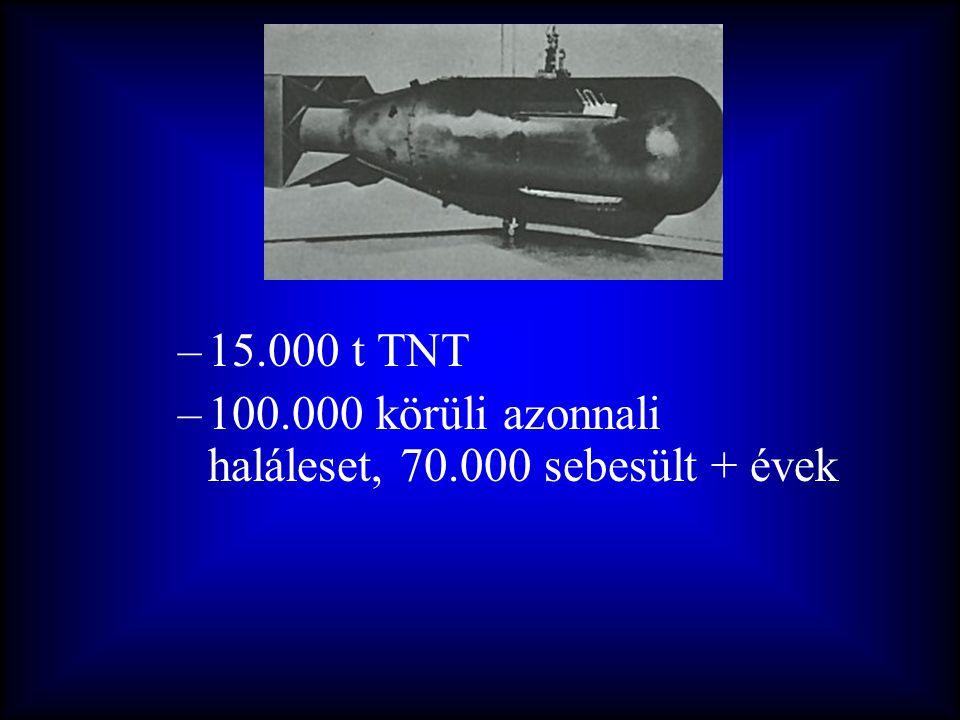 –15.000 t TNT –100.000 körüli azonnali haláleset, 70.000 sebesült + évek