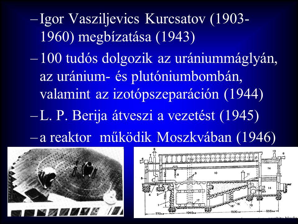 –Igor Vasziljevics Kurcsatov (1903- 1960) megbízatása (1943) –100 tudós dolgozik az urániummáglyán, az uránium- és plutóniumbombán, valamint az izotóp