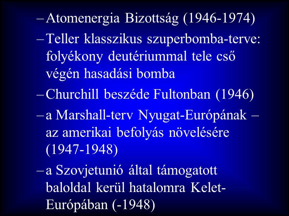 –Atomenergia Bizottság (1946-1974) –Teller klasszikus szuperbomba-terve: folyékony deutériummal tele cső végén hasadási bomba –Churchill beszéde Fulto