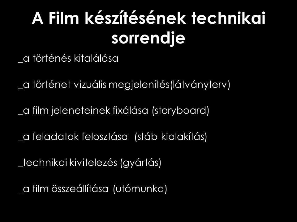 A Film készítésének technikai sorrendje _a történés kitalálása _a történet vizuális megjelenítés(látványterv) _a film jeleneteinek fixálása (storyboar