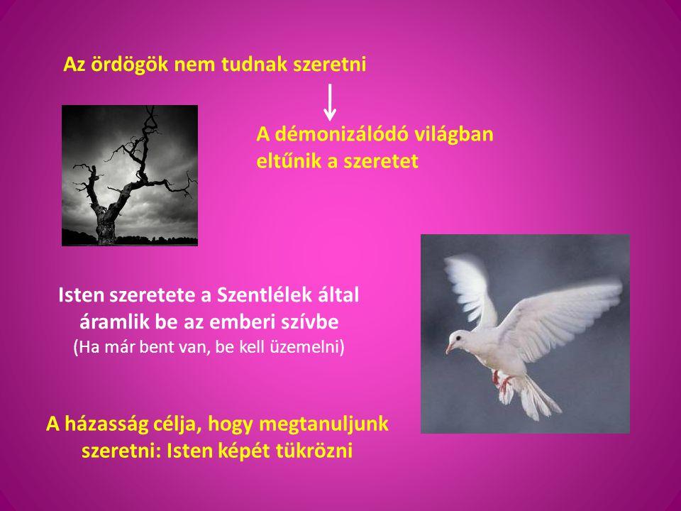 Az ördögök nem tudnak szeretni A démonizálódó világban eltűnik a szeretet Isten szeretete a Szentlélek által áramlik be az emberi szívbe (Ha már bent