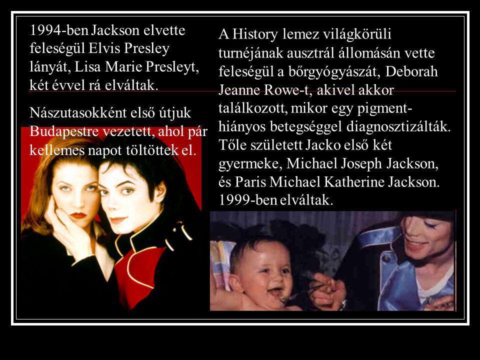 1995 – History megjelenése A lemez nagy sikernek örvendett az egész világon, Michael pedig koncertkörútra indult. A két részes turné újabb rekordokat