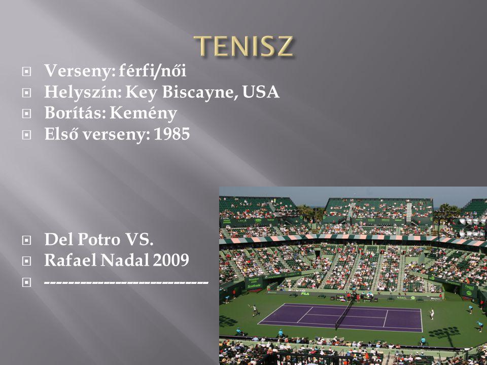  Verseny: férfi/női  Helyszín: Key Biscayne, USA  Borítás: Kemény  Első verseny: 1985  Del Potro VS.  Rafael Nadal 2009  ----------------------