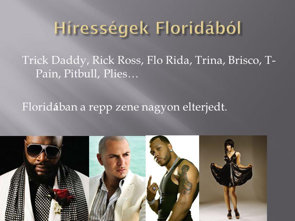 Trick Daddy, Rick Ross, Flo Rida, Trina, Brisco, T- Pain, Pitbull, Plies… Florid á ban a repp zene nagyon elterjedt.