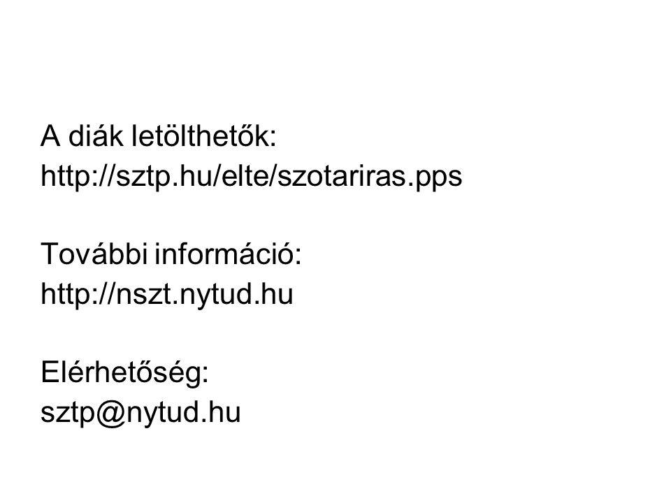 A diák letölthetők: http://sztp.hu/elte/szotariras.pps További információ: http://nszt.nytud.hu Elérhetőség: sztp@nytud.hu