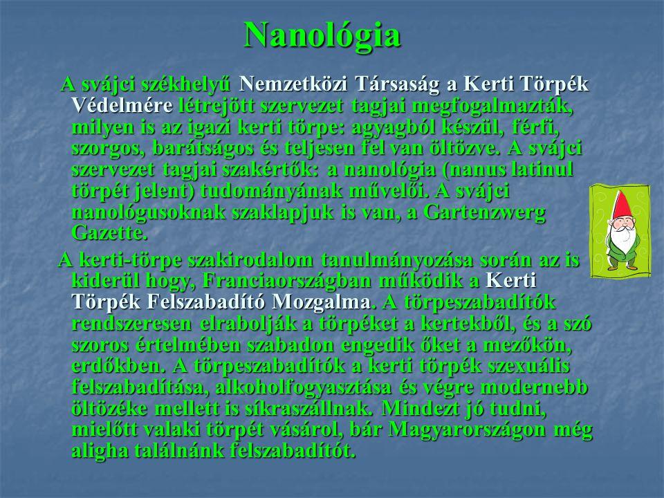 Nanológia A svájci székhelyű Nemzetközi Társaság a Kerti Törpék Védelmére létrejött szervezet tagjai megfogalmazták, milyen is az igazi kerti törpe: a