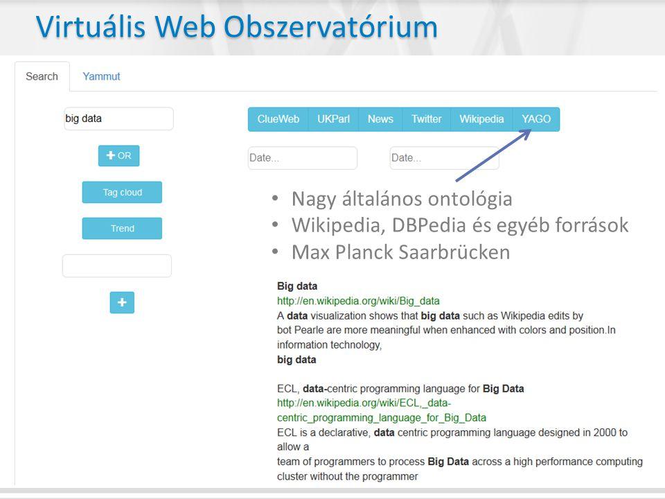 • Nagy általános ontológia • Wikipedia, DBPedia és egyéb források • Max Planck Saarbrücken Virtuális Web Obszervatórium