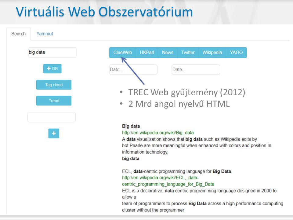 • TREC Web gyűjtemény (2012) • 2 Mrd angol nyelvű HTML Virtuális Web Obszervatórium