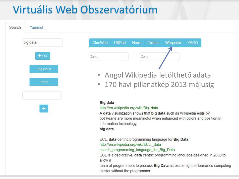 • Angol Wikipedia letölthető adata • 170 havi pillanatkép 2013 májusig Virtuális Web Obszervatórium