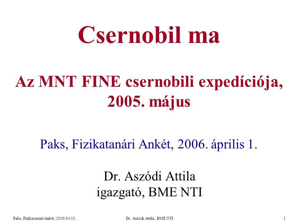 Dr. Aszódi Attila, BME NTI32Paks, Fizikatanári Ankét, 2006.04.01. Terepi mérések és mintavétel