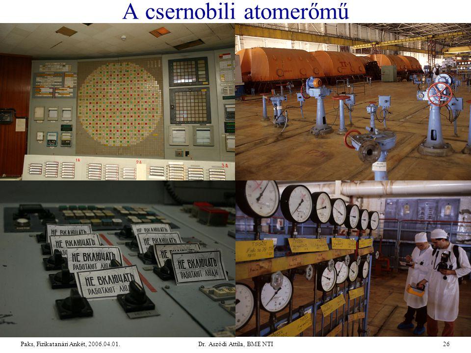 Dr. Aszódi Attila, BME NTI26Paks, Fizikatanári Ankét, 2006.04.01. A csernobili atomerőmű