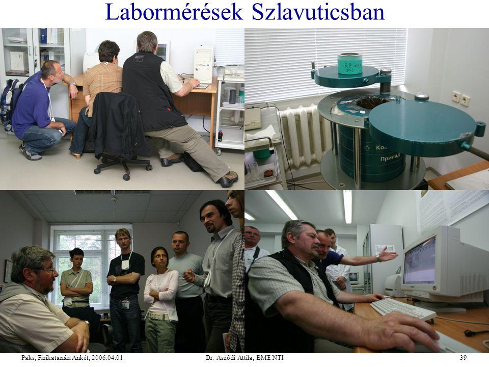 Dr. Aszódi Attila, BME NTI39Paks, Fizikatanári Ankét, 2006.04.01. Labormérések Szlavuticsban