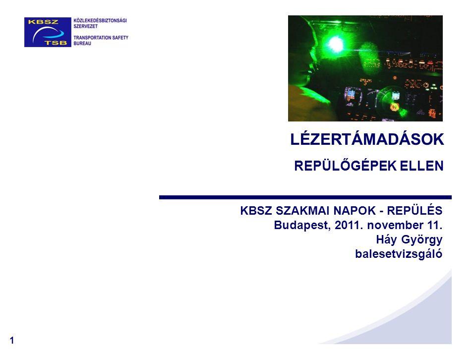 1 LÉZERTÁMADÁSOK REPÜLŐGÉPEK ELLEN KBSZ SZAKMAI NAPOK - REPÜLÉS Budapest, 2011. november 11. Háy György balesetvizsgáló