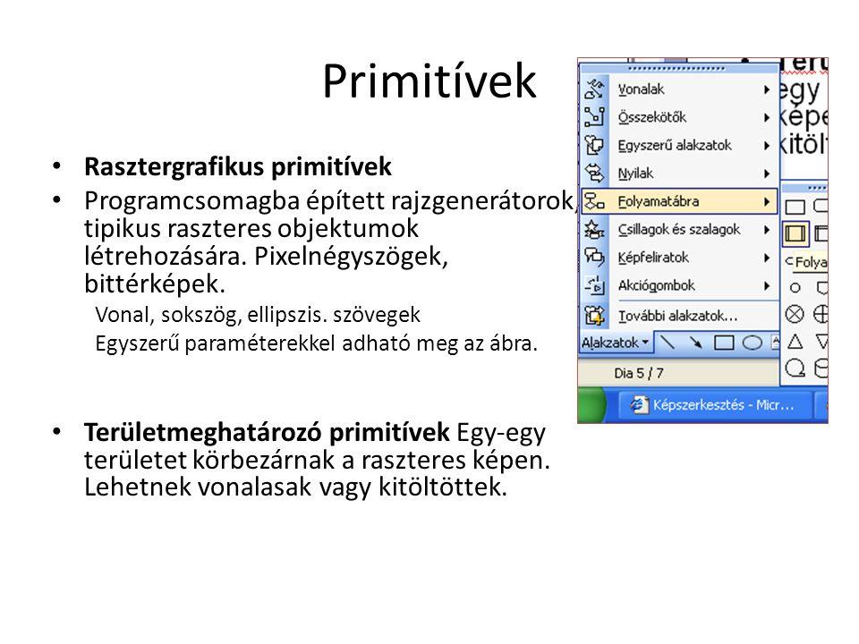 Primitívek • Rasztergrafikus primitívek • Programcsomagba épített rajzgenerátorok, tipikus raszteres objektumok létrehozására. Pixelnégyszögek, bittér