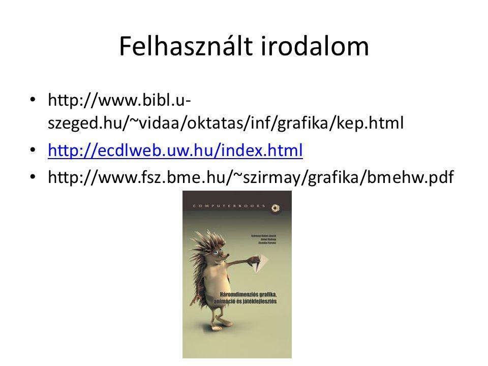 Felhasznált irodalom • http://www.bibl.u- szeged.hu/~vidaa/oktatas/inf/grafika/kep.html • http://ecdlweb.uw.hu/index.html http://ecdlweb.uw.hu/index.h